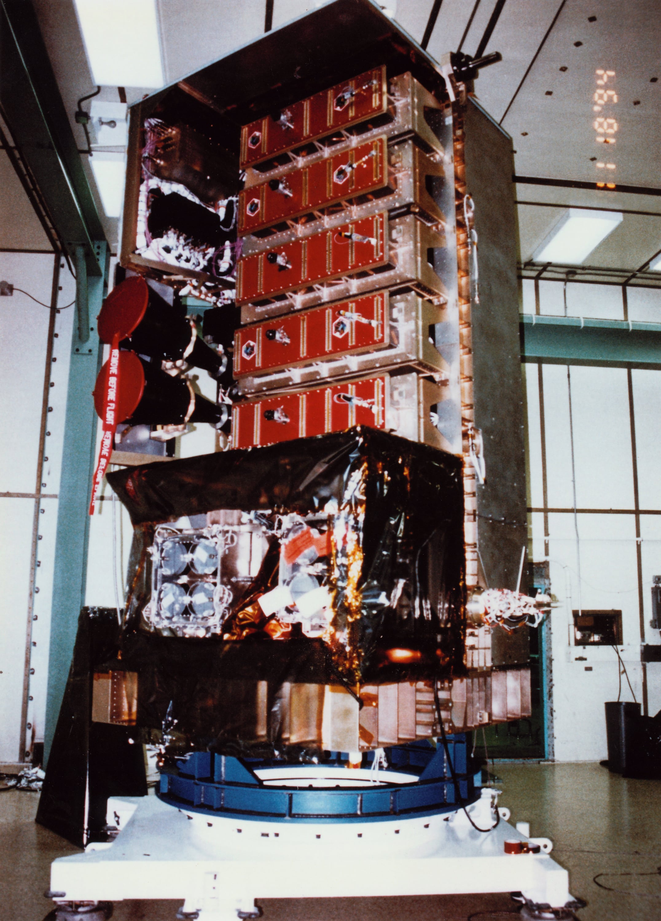 Image: The measurement of the black hole's mass is due to high-precision timing observations made by NASA's Rossi X-ray Timing Explorer satellite, shown here prior to launch.