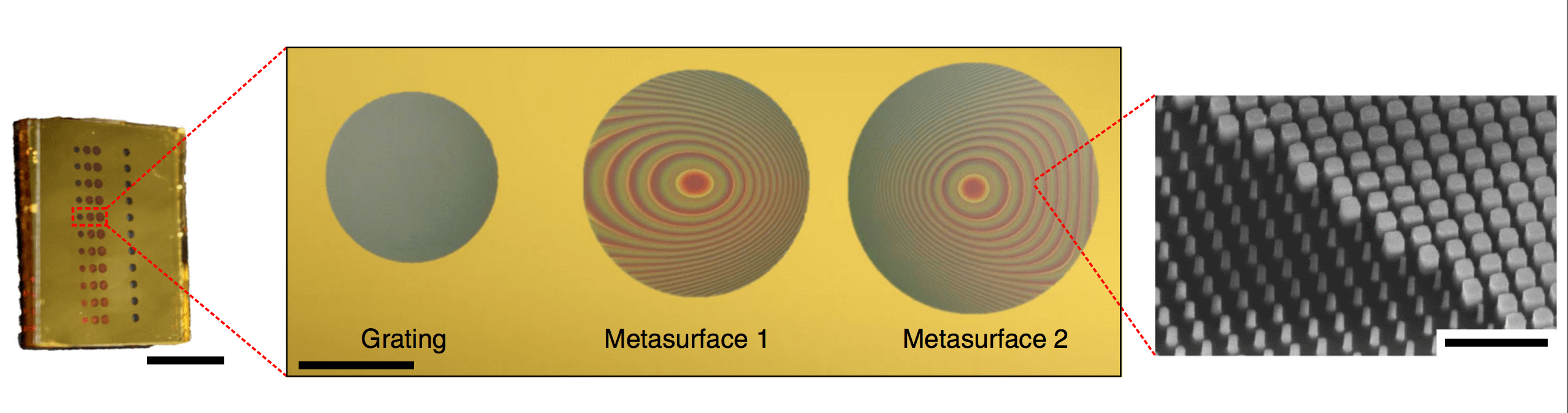 Image: An optical microscope image of the fabricated device and metasurfaces before deposition of the second gold layer.