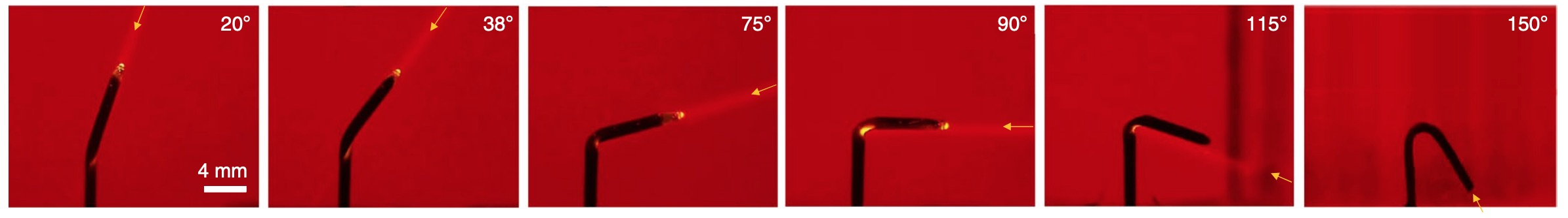 Photos of an AuNP–PNIPAAm SunBOT in water aiming at a laser that illuminates from various zenith angles in the range 20–150°.