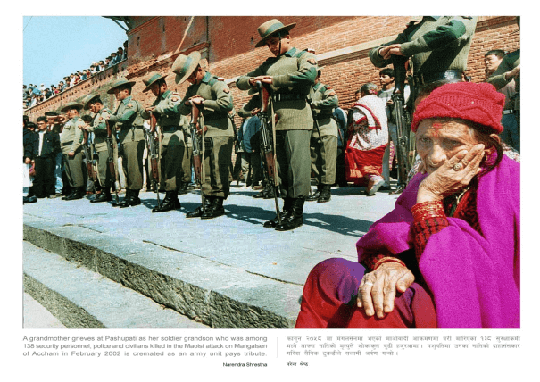 Soldier Grandmother grieves at Pashupati