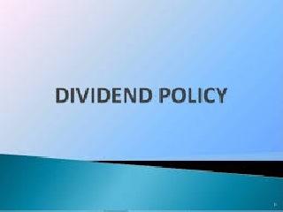 CFA   Dividend Policy