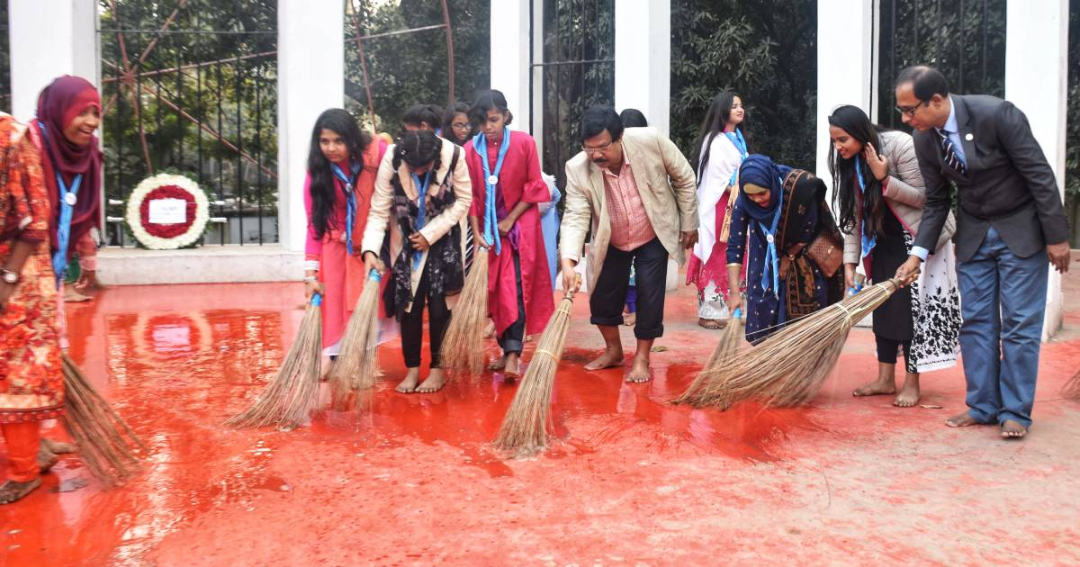 Cleanliness campaign held at Central Shaheed Minar