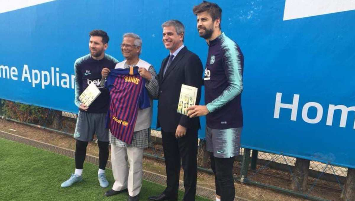 Dr Yunus now in Spain on his book tour; meets star players