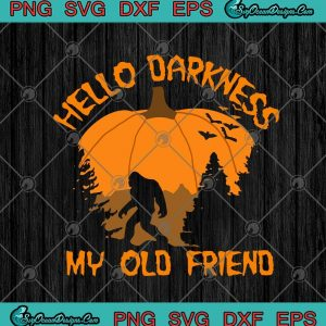 Bigfoot Hello Darkness My Old Friend Pumpkin Funny Halloween SVG PNG EPS DXF Cricut File Silhouette Art, svg cricut, silhouette svg files, cricut svg, silhouette svg, svg designs, vinyl svg