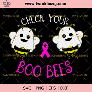Boo Bees Breast Cancer SVG, Boo Boo Crew Halloween SVG, Boo Bees SVG DXF EPS PNG, svg cricut, silhouette svg files, cricut svg, silhouette svg, svg designs, vinyl