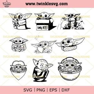 Baby Yoda SVG Bundle, Star Wars SVG, Mandalorian SVG, Baby Yoda SVG DXF EPS PNG Cutting File for Cricut, svg cricut, silhouette svg files, cricut svg, silhouette svg, svg designs, vinyl
