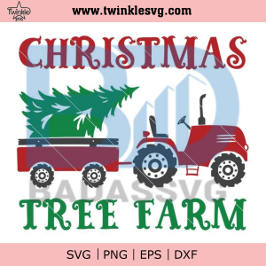 Christmas tractor svg, trailer with tree svg