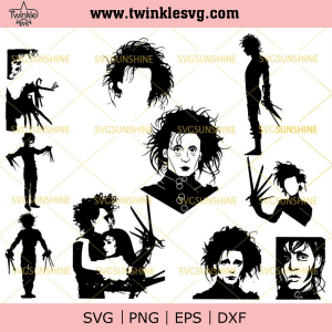 Edward Scissorhands SVG Bundle, Edward Scissorhands SVG PNG DXF EPS, svg cricut, silhouette svg files, cricut svg, silhouette svg, svg designs, vinyl