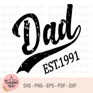 Dad Est 1991, Vintage New Dad svg, Fathers Day Gifts, Father's Day Svg, Cricut, Baseball Dad Svg, Dad Est Svg, Men's Gift, Family Gift