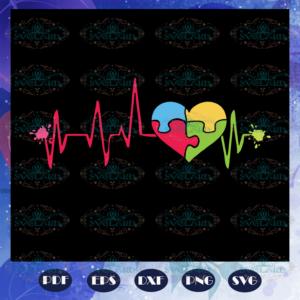 Autism heartbeat Jigsaw Heart svg AU28072020