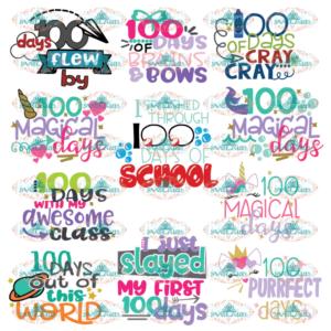 100 Days Of School Bundle cut files, 100 days brighter, 100 days