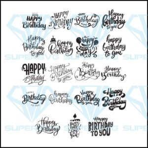 Happy birthday svg files for cricut silhouette easy cut instant download
