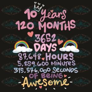 10 Years 120 Months 3652 Days Svg, Birthday Svg, 10 Years Svg, 120