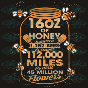 16 oz of honey requires 1152 bees to travel 112000 miles and visit 45