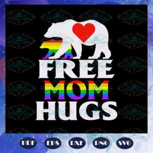 Free mom hugs, bear svg, rainbow svg, leseither way, lesbian gift,