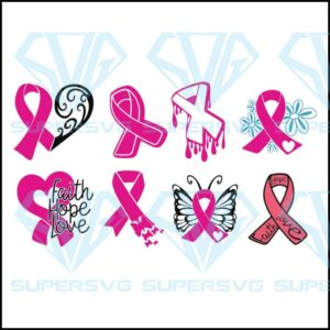 Angel wings bundle svg breast cancer pink ribbon