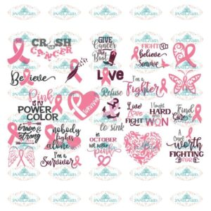 Breast Cancer Svg, Bundle, Cancer Awareness Svg, Cancer Svg, Cricut,