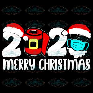 2020 Merry Christmas Santa Face Mask Svg, Christmas Svg, Merry