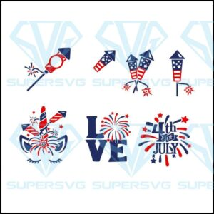 Fireworks svg monogram quotes bundle th of july dxf eps jpeg png format layered cutting files clipart die cut