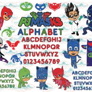 Pj Masks svg, Masks alphabet, clipart Catboy, font Owlette, bundle