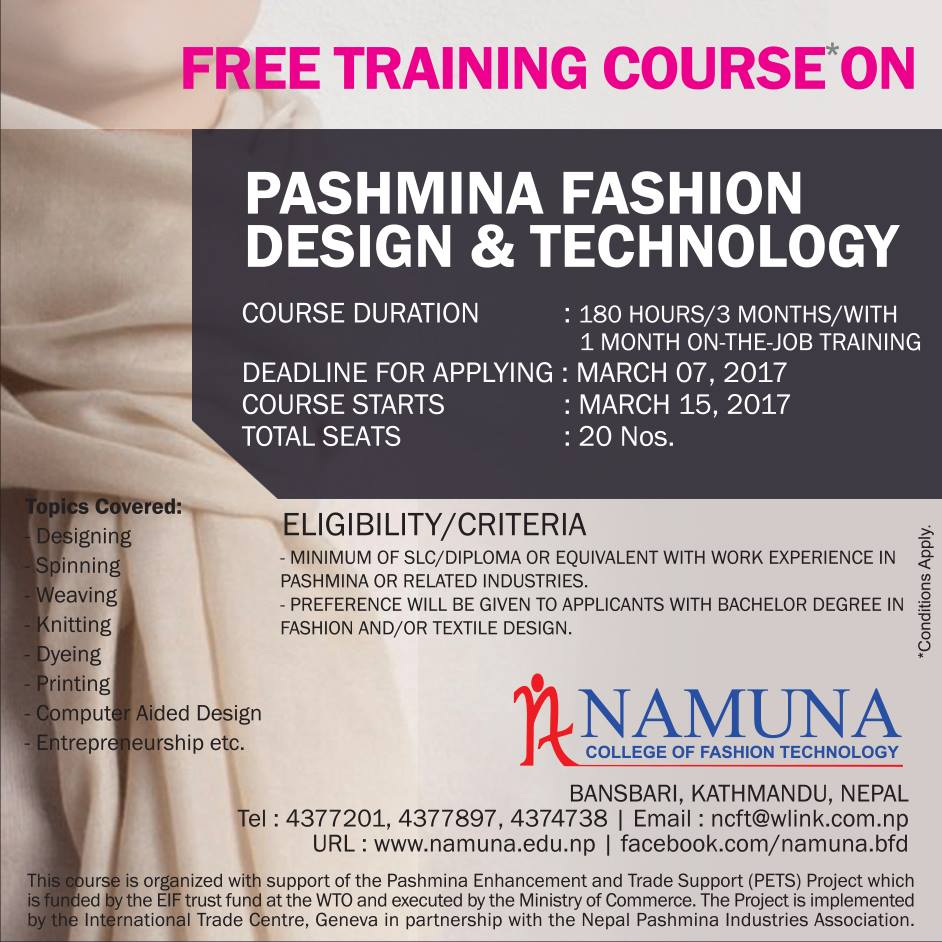 Free Training Course On Pashmina Fashion Design And Technology