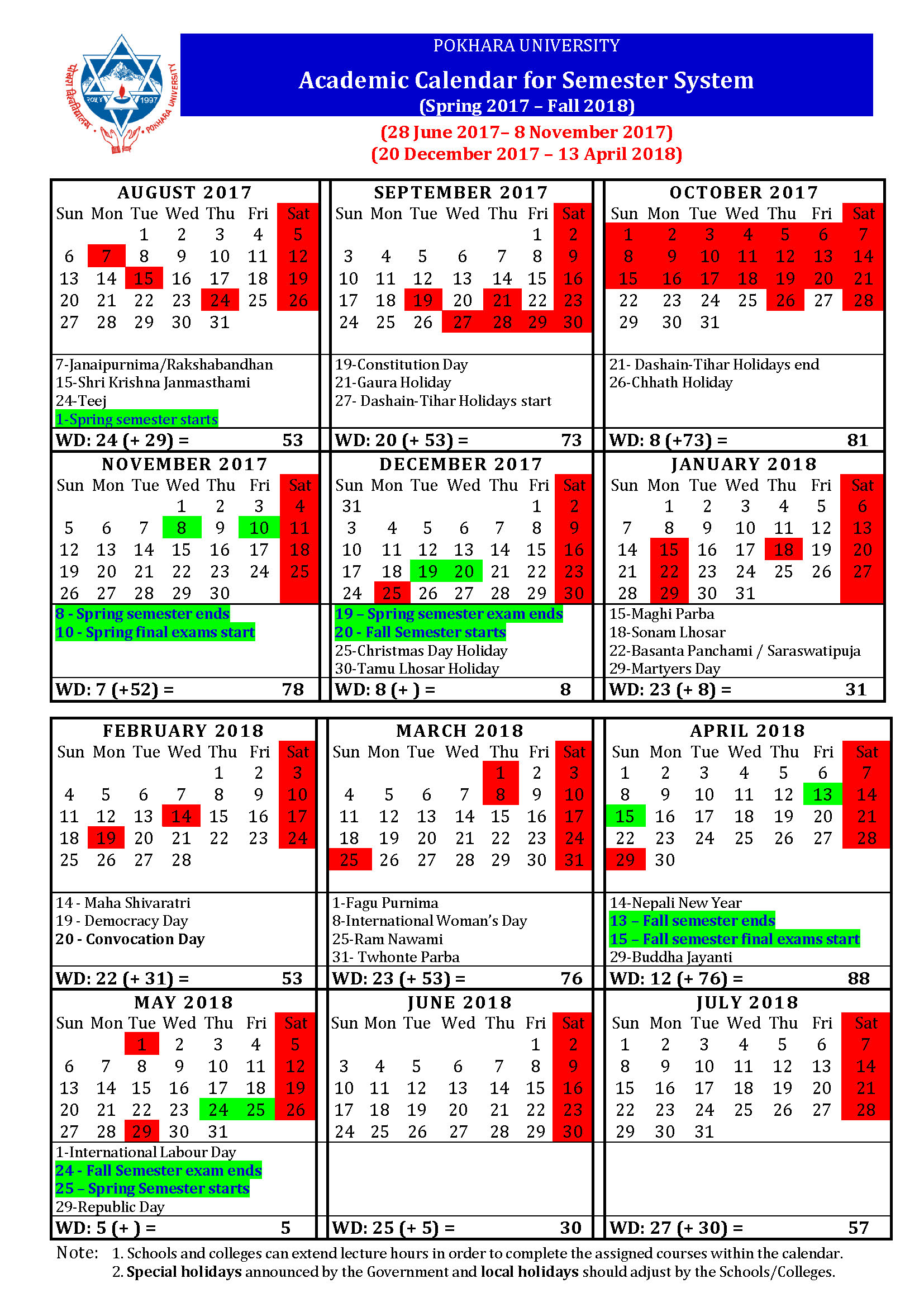 academic calendar for semester system spring 2018 to fall 2019