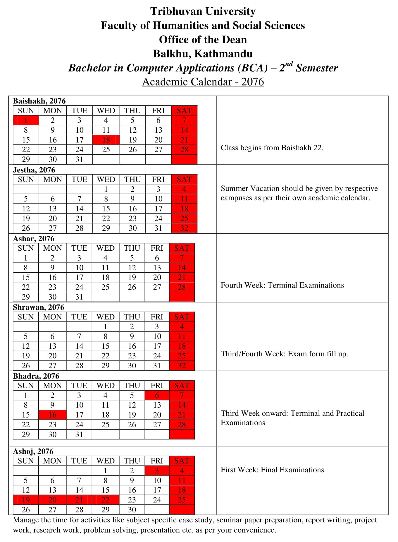 Terminal 5 Calendar.Bca Second Semester Academic Calendar 2076 Tribhuvan University