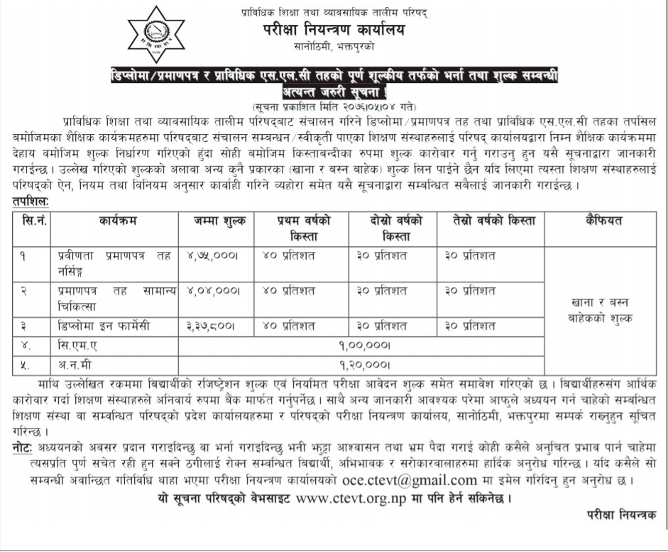 Ctevt Published Fee Structure Of Diploma Certificate And Tslc