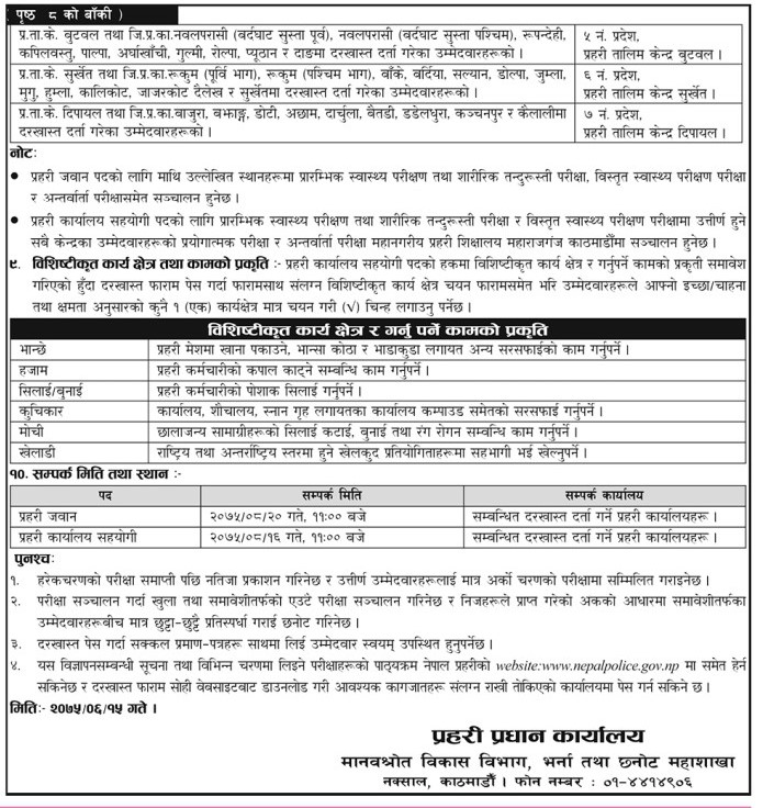 Nepal Police announces vacancies for Inspector, ASI and
