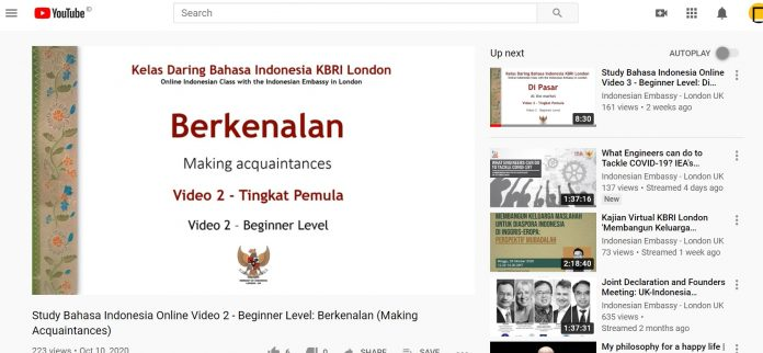 Considering the high interest of foreigners to learn Bahasa Indonesia, the Indonesian Embassy in London has opened an online class via a YouTube account.