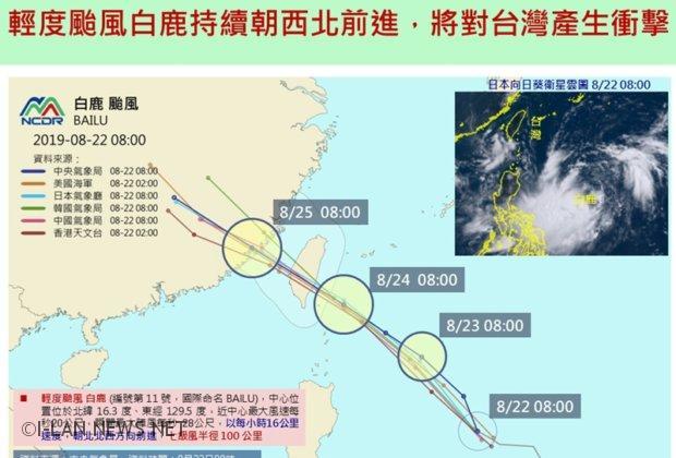 美日台中氣象預報路徑都指輕颱白廘將登陸台灣!