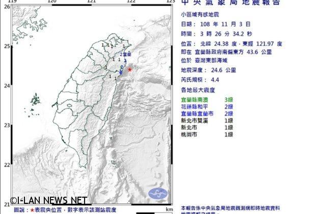 宜蘭地震芮氏規模4.4 無恙!