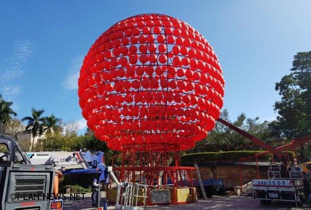 農曆過年全國最大紅燈籠在羅東中山公園