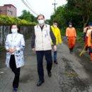 第二波武漢台胞返鄉到員山隔離區 縣長巡視鄉內消毒作業
