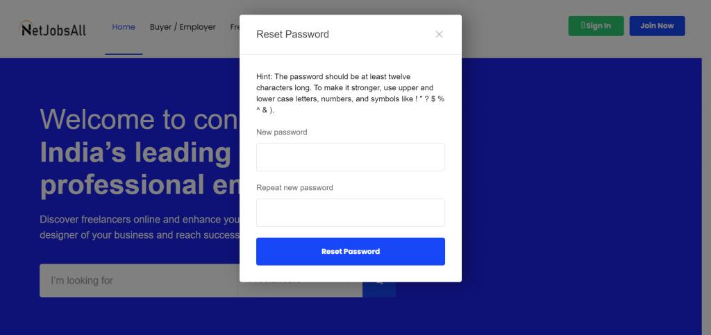 Reset Password Step -8