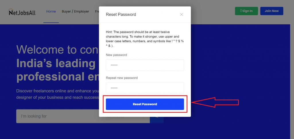 Reset Password Step -11