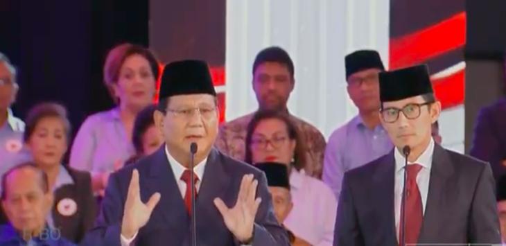 Prabowo - Sandiaga Uno, debat capres 2019, pilpres 2019