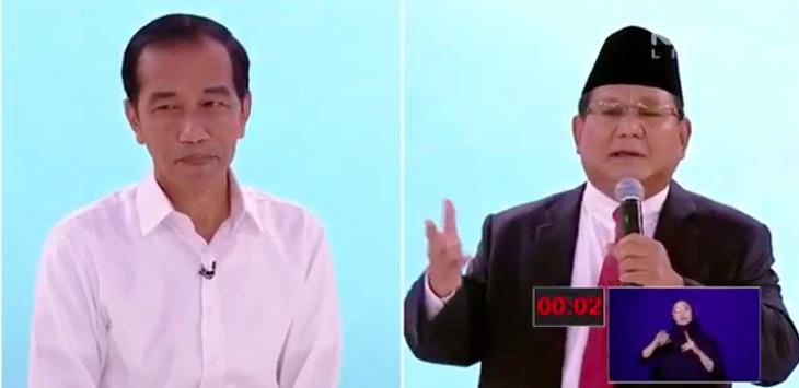 Jokowi dan Prabowo debat Capres 2019, debat pilpres, pilpres 2019, debat kedua