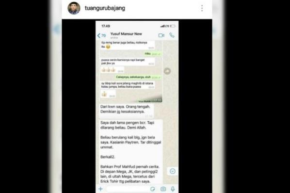 Tangkapan layar percakapan WA Tuan Guru Bajang dengan Ustad Yusuf Mansur.