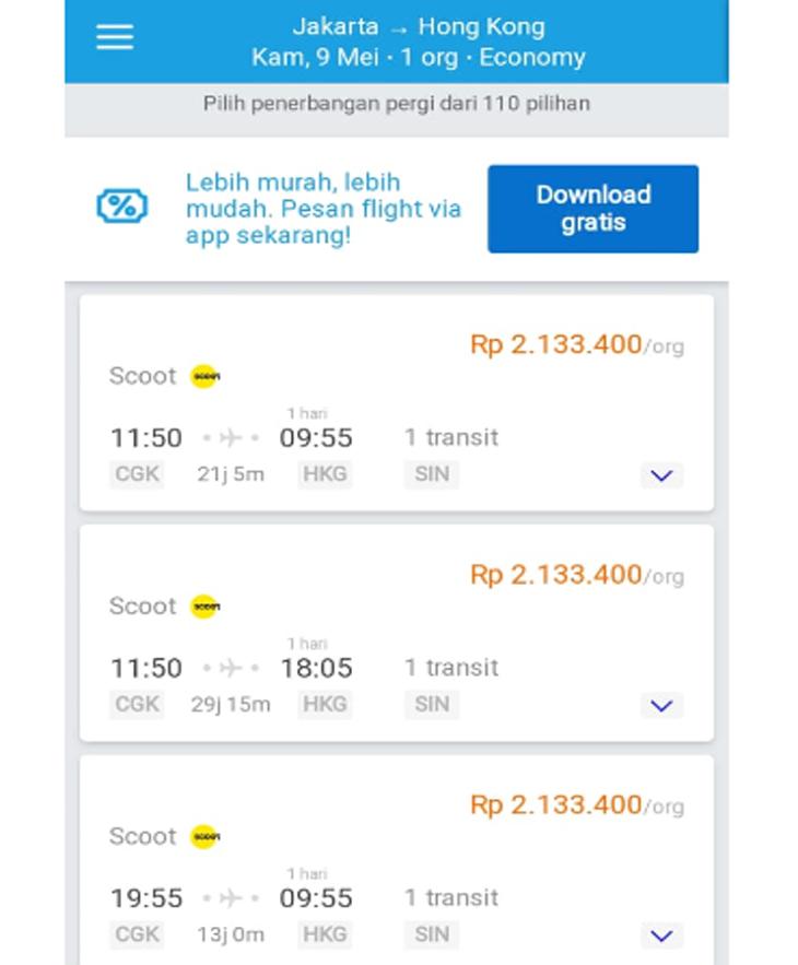 Harga tiket ke Hong Kong