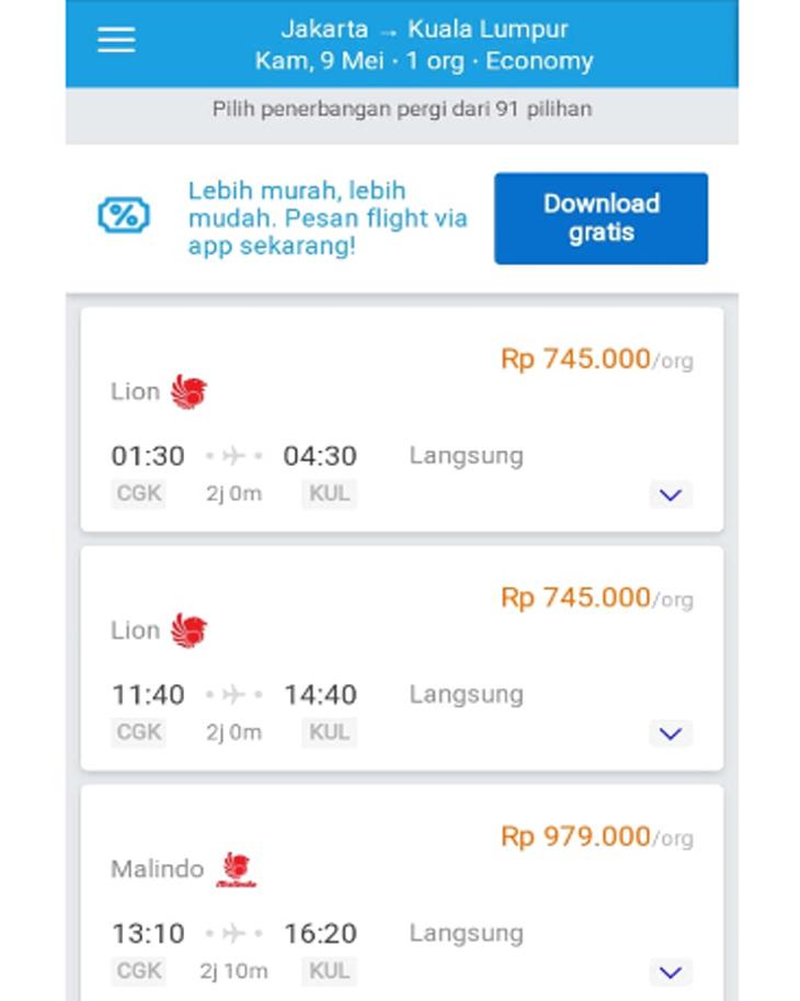 Harga tiket pesawat ke Kualalumpur Malaysia