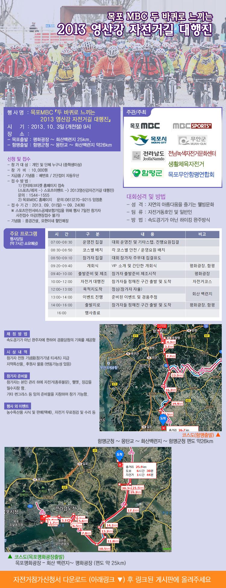 두 바퀴로 느끼는 2013 영산강 자전거길 대행진 행사정보
