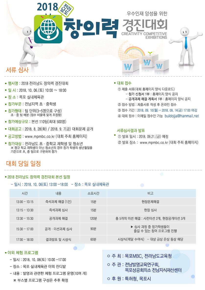2018 전라남도 창의력경진대회 행사정보