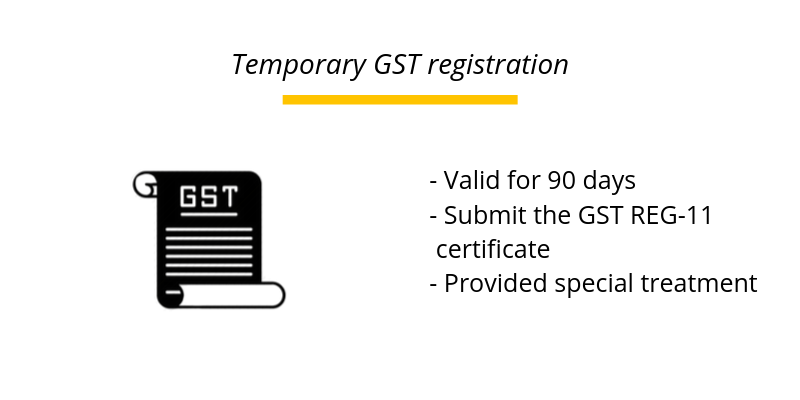 Temporary GST registration