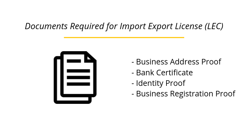 Documents Required for Import Export License (LEC)