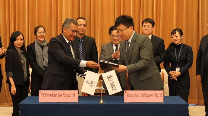 PT Perusahaan Gas Negara (PGN) Tbk dan Sinopec menandatangani perjanjian jual beli LNG di China untuk tahun 2020.