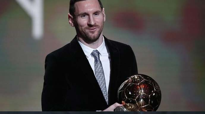 Messi memenangkan penghargaan Ballon d'Or keenam dalam kariernya. (AP Photo/Francois Mori)
