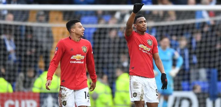 Manchester United menang 6-0 saat menghadapi Tranmere Rovers pada babak 32 besar FA Cup 2019/20, di Prenton Park (Birkenhead), Minggu (26/1/2020) malam WIB.
