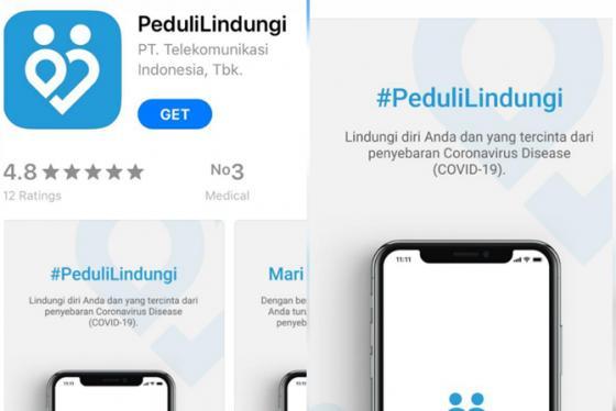 Ilustrasi: Aplikasi PeduliLindungi kini tersedia di Apple Play Store. (Rian/JawaPos.com)
