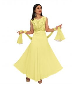 Georgette Blend Stitched Flared/A-line Gown (Yellow)
